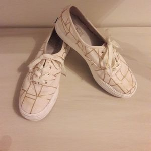 Keds sneakers Natural with gold design Sz 6.5